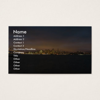 Skyline With Illuminated City Glow In Clouds On Sa Business Card