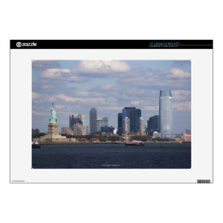 """Skyline with Statue of Liberty 15"""" Laptop Decal"""