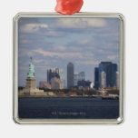 Skyline with Statue of Liberty Christmas Ornaments