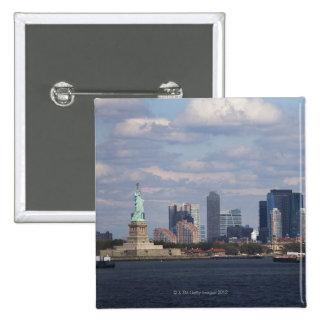 Skyline with Statue of Liberty Pinback Button