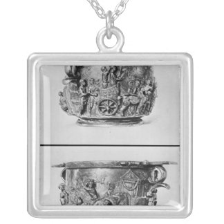 Skyphos depicting the consular procession silver plated necklace