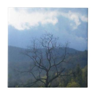 skys tempestuosos del árbol oscuro azulejo cuadrado pequeño