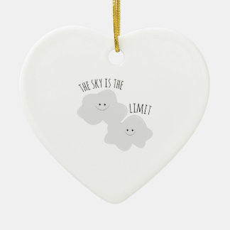 Skys The Limit Double-Sided Heart Ceramic Christmas Ornament