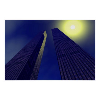skyscapers en blue poster