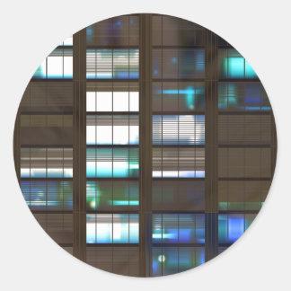 Skyscraper by Night - Classic Round Sticker