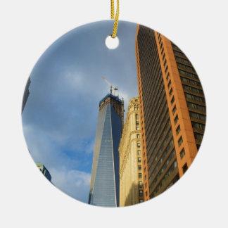 Skyscraper Reflections of New York Ceramic Ornament