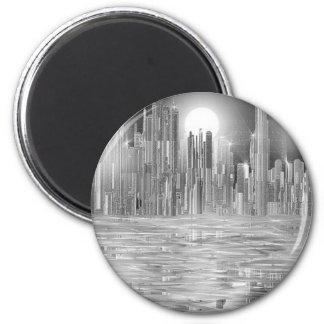 skyscraper scene.shpn.09 2 inch round magnet