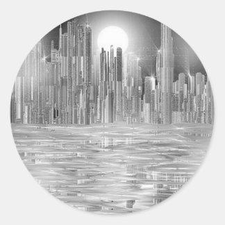 skyscraper scene.shpn.09 classic round sticker