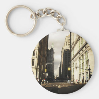 Skyscraper Shadows in the Financial District Basic Round Button Keychain