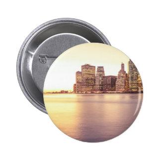 Skyscraper Skyline - New York City Sunset Buttons