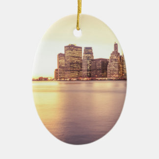 Skyscraper Skyline - New York City Sunset Christmas Ornament