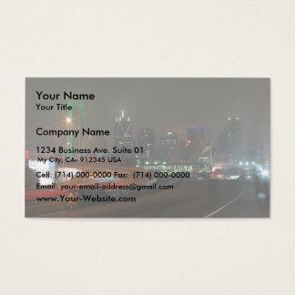 Skyscraper With Neon In Downtown Dallas In Texas Business Card