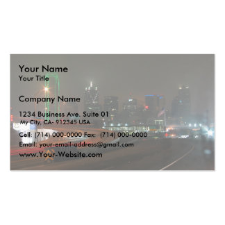 Skyscraper With Neon In Downtown Dallas In Texas Double-Sided Standard Business Cards (Pack Of 100)