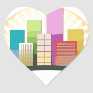 Skyscrapers and sun showing a urban city heart sticker