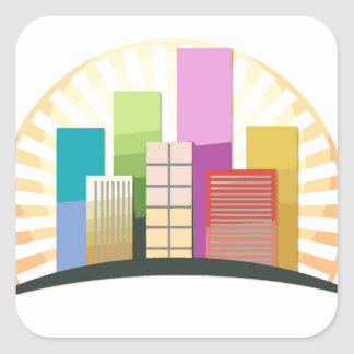 Skyscrapers and sun showing a urban city square sticker