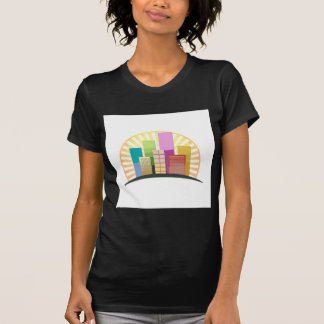 Skyscrapers and sun showing a urban city T-Shirt