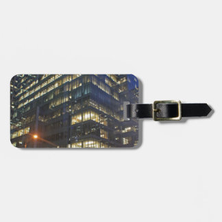 skyscrapers at night tag for bags
