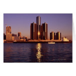Skyscrapers by the water in Detroit 2 Cards
