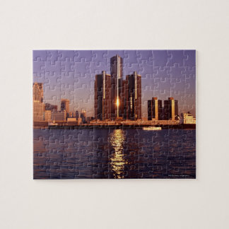 Skyscrapers by the water in Detroit 2 Jigsaw Puzzle