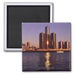 Skyscrapers by the water in Detroit 2 Magnets