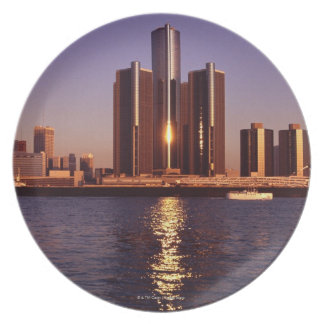 Skyscrapers by the water in Detroit 2 Melamine Plate