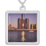Skyscrapers by the water in Detroit 2 Necklace