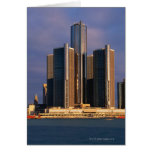 Skyscrapers by the water in Detroit 3 Greeting Card