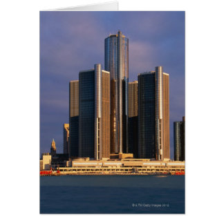 Skyscrapers by the water in Detroit 3 Card