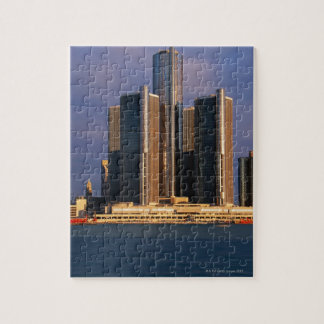 Skyscrapers by the water in Detroit 3 Jigsaw Puzzle