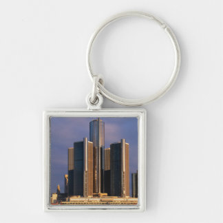 Skyscrapers by the water in Detroit 3 Keychain