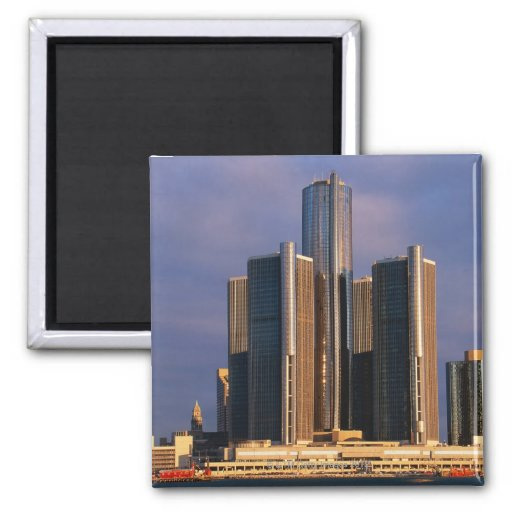 Skyscrapers by the water in Detroit 3 Refrigerator Magnet