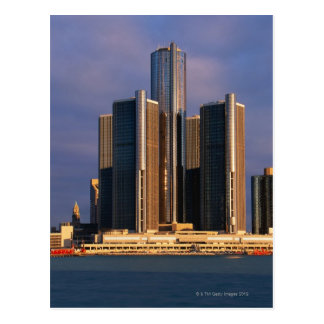 Skyscrapers by the water in Detroit 3 Postcard