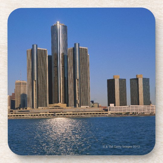 Skyscrapers by the water in Detroit Beverage Coaster