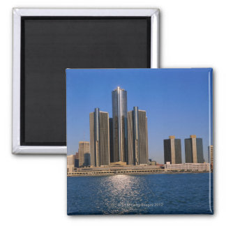 Skyscrapers by the water in Detroit 2 Inch Square Magnet