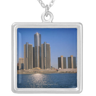 Skyscrapers by the water in Detroit Silver Plated Necklace