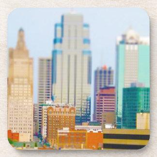 Skyscrapers High Rise Downtown Kansas City Skyline Beverage Coaster