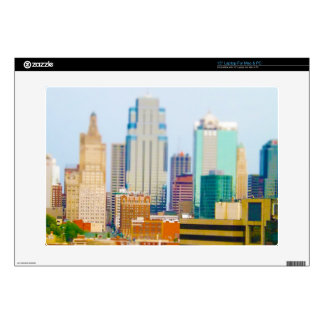 "Skyscrapers High Rise Downtown Kansas City Skyline Decal For 15"" Laptop"