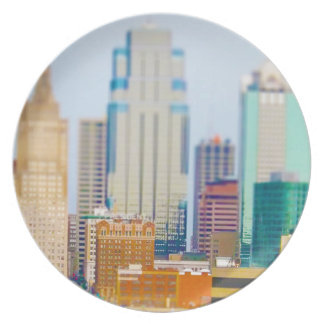 Skyscrapers High Rise Downtown Kansas City Skyline Dinner Plate