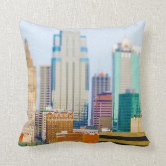Skyscrapers High Rise Downtown Kansas City Skyline Pillow