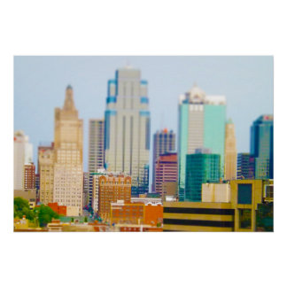 Skyscrapers High Rise Downtown Kansas City Skyline Poster