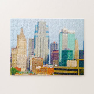 Skyscrapers High Rise Downtown Kansas City Skyline Puzzle