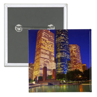 Skyscrapers in downtown Houston reflected in Button