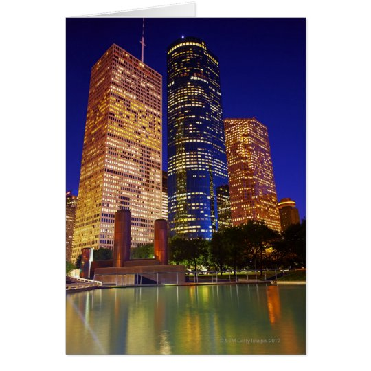 Skyscrapers in downtown Houston reflected in Card