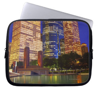 Skyscrapers in downtown Houston reflected in Laptop Sleeve