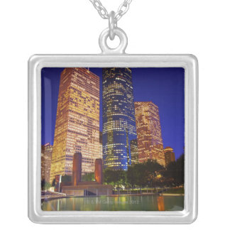 Skyscrapers in downtown Houston reflected in Silver Plated Necklace
