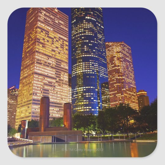 Skyscrapers in downtown Houston reflected in Square Sticker