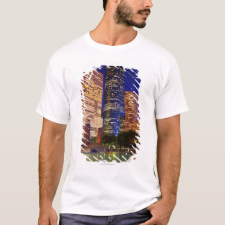 Skyscrapers in downtown Houston reflected in T-Shirt