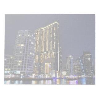Skyscrapers in Dubai Marina at night Notepad