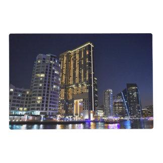 Skyscrapers in Dubai Marina at night Placemat