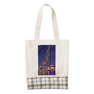 Skyscrapers in Dubai Marina at night Zazzle HEART Tote Bag